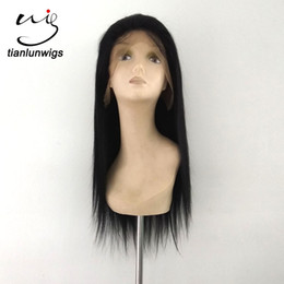 16inch Human Hair Wig Canada - wholesale 16inch cheap brazilian human hair natural hairline silky straight full lace wig lace front wig with baby hair around perimiter