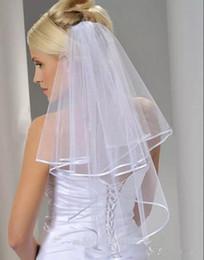 d9332bb669 En existencia Barato tul blanco velos de novia 2016 con peine codo longitud dos  capas borde de la cinta accesorios de la boda nueva llegada