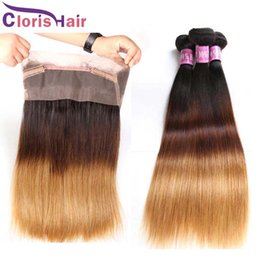 Discount cheap frontal hair piece - Pre Plucked 360 Lace Frontal With Bundles Cheap Ombre 1B 4 27 Straight Peruvian Human Hair Weaves With Full Frontals Clo
