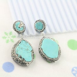 $enCountryForm.capitalKeyWord NZ - Charms! 4Pair Turquoise Stone Earring , Pave Rhinestone Crystal Dangle Earrings Jewelry Finding