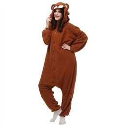 Коричневый медведь Kigurumi пижамы унисекс взрослых животных косплей костюм Onesie пижамы комбинезон необычные платья S, M/ L, XL