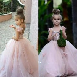 Robes De Mariage Bretelles Pas Cher-Blush Pink Flower Girls Dresses Appliques Spaghetti Straps Ball Ruffles Tulle Pageant Robes pour les filles Long Girl Dresses for Wedding