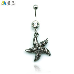sea bell UK - Promotion! New Design Wholesale Price Fashion Metal Sea Star Skull Flower Belly Button Rings For Women Body Jewelry