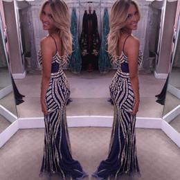 Wholesale stunning dress straps for sale – plus size Bling Bling Mermaid Evening Dresses Spaghetti Straps Sheath Prom Dresses V Neck Backless Stunning Women Celebrity Dresses New