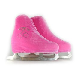 Figure Ice Skating Canada - Wholesale- 24 Colors Child Adult Velvet Ice Figure Skating Shoes Cover Roller Skate Fabric Cover Accessories Pink Cherry Rhinestone