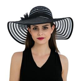 $enCountryForm.capitalKeyWord NZ - Womens Floral Band Wide Brim Stripes Church Dress Polyester Stylish Summer Beach Sun Hat Cap T238