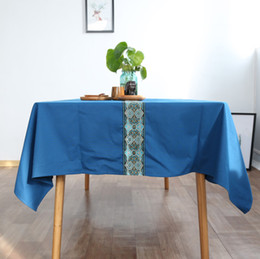 $enCountryForm.capitalKeyWord NZ - New Chinese - style tablecloth Continental blue luxury national wind high - grade dining table coffee table cloth new classical tablecloths