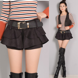 ce9f5ce66cd New design women s autumn fashion high waist suede leather with belt  ruffles cute sexy boot cut shorts plus size SMLXLXXL