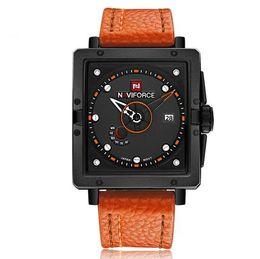 Designer Watch Straps UK - Free Shipping!New Luxury NAVIFORCE Watches Men Brand Designer PU Leather Strap Display Week Calendar Quartz Movement Watch Wholesale