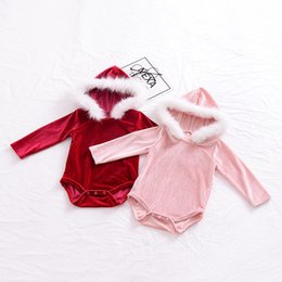 Barato Chapéu Do Bebé Vermelho-Everweekend Baby Girls Velvet Autumn Rompers com chapéus de lã Cute Toddler Baby Red Pink Color Moda Vestuário