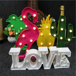 Discount pineapple table lamps - 3D LED Lamp Night Lights Flamingo Light Pineapple Cactus Table Lamp for Christmas Decorations Party Novelty LED Battery