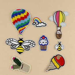 Discount wholesale bee stickers Iron On Patches DIY Embroidered Patch sticker For Clothing clothes Fabric Badges Sewing fire balloon bee muffin cups design