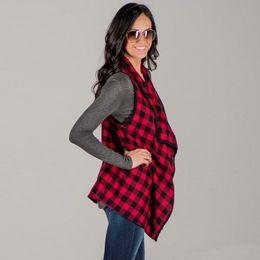 Großhandel Frauen Plaids Westen Ärmel Jacken Frühling und Herbst Mode Revers dünner Mantel Checkered Outwear Feminino Tops
