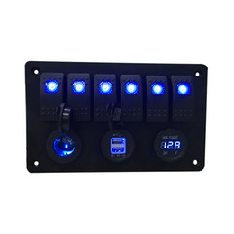 Chinese  Digital Voltmeter+12V power Socket +Double USB Power Charger Adapter aluminum Flush Mount blue 6 gang rocker switch Panel Black RV Car Boat manufacturers