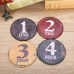 Round Kitchen Sets Australia - Wholesale- LINKWELL Set of 4 10x10cm Vintage Number Black One Figure Round Kitchen Tabletop Bar Coaster Table Cup Holder Drink Placemat Mat