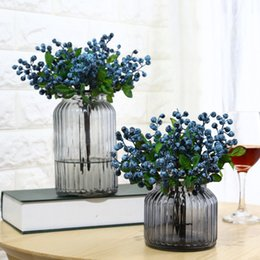 Wholesale Artificial Plant flower Decorative Blueberry Fruit Berry Artificial Flower Silk Flowers For Wedding Christmas Home Decoration