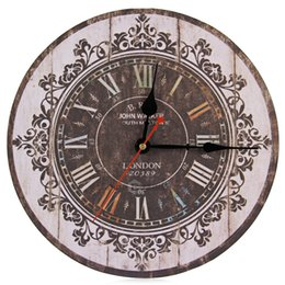 Discount silent vintage wall clock - Wholesale-Hot Sale Silent Wooden Decorative Round Wall Clock Antique Vintage Rustic Wall Clocks Hight Quality Wholesale