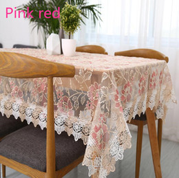 1 Piece Pink Red Fresh Translucent Glass Yarn Table Cloth Lace Embroidered  Tea Table Cloth Home Decoration Transparent Tablecloth Affordable Tablecloth  ...