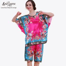 39146be356 Wholesale- Top Sale Women Pajamas 2017 Summer Satin Pyjamas for Women Sleep  Lounge Pijama Pants Sets Fashion 2 Piece Pajama Set 10217