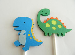 $enCountryForm.capitalKeyWord NZ - Custom personality Lovely Dinosaur Cupcake Toppers wedding birthday baby shower Party food picks free shipping photo booth Party Supplies