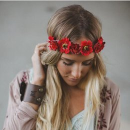 Discount hair styles for weddings - 18INCH Bohemian Style Flower Headband Festival Wedding Floral Garland Hair Bands Headwear Hair Accessories for Women