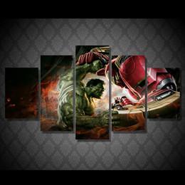$enCountryForm.capitalKeyWord Canada - 5 Pcs Set Framed HD Printed Hulk Iron Man Picture Wall Art Canvas Room Decor Poster Canvas Modern Oil Painting