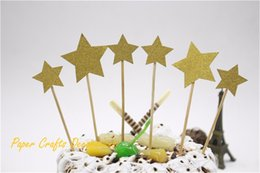 Wholesale Set Of 6pcs Gold Glitter Stars Party Cake Topper Kit Personalized Wedding Baby Birthday Cupcake Decorations