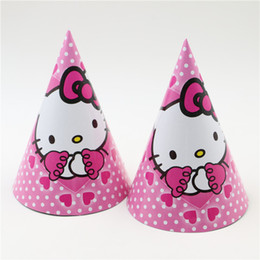 online shopping new hello kitty theme cartoon kids girls birthday celebration decoration supplies baby hat party