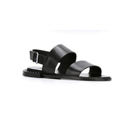a1474ecc8d6b8 2017 Mens Summer Beach Gladiators Flats Black Shoes Buckle Open toe Genuine  leather Sandals Punk Casual Style Flip Flops Man