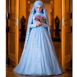 modern muslim wedding dresses NZ - Muslim Wedding Dresses A Line Modest New Sky Blue Bridal Gowns Full Sleeve Appliques Tulle Castle Top Sale Custom Made Sweep Train