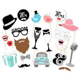 funny photobooth props NZ - Wedding Photo Booth Props Party Funny Mask DIY Mr Mrs Bride Groom Photobooth Bridal Shower Decoration Just Married Centerpieces