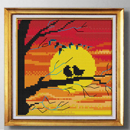 $enCountryForm.capitalKeyWord NZ - The setting sun bird shadow, Handemade cross stitch needlework embroidery kits ,DMC 14CT or 11CT painting counted printed on canvas