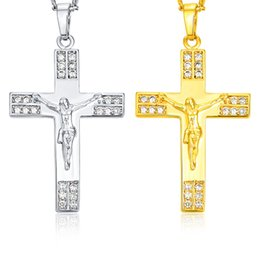 silver men nice chains Canada - Cross Pendant Necklace Fashion 18K Yellow Gold Plated 925 Silver Plated Jesus Cross Necklace for Men Women Nice Gift JN1025