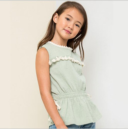 Ruffle Wholesale Pas Cher-2017 Teenass Tassel Shirts Junior Fashion Ruffle Jumper Blouse Babies Summer Tops Vêtements enfant en gros