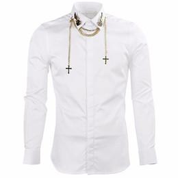 Atacado-camisas de luxo dos homens de marca de manga comprida camisas homens com cadeia Slim Fit Mens Camisas de Vestido Ocasional Chemise Homme Camisas Hombre Preto venda por atacado
