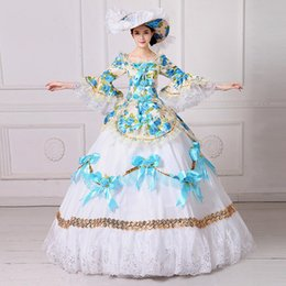 Southern Belle Dress Xl NZ - Marie Antoinette Masquerade Dresses Renaissance Southern Belle Ball Gowns 2017 New Floral Printed Theatrical Clothing Women Lace Dress FN204