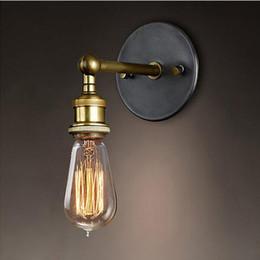 Discount Antique Bathroom Lights AC 90 260V Wall Lights Vintage E27 Plated  Loft Iron Wall
