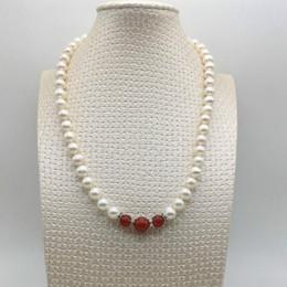 Selling sehr schöne Halskette, Süßwasserperlen mit roten Achat Halsketten, einfache Kombination von Halsketten, lässig mit dem besten Spiel im Angebot