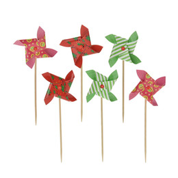 $enCountryForm.capitalKeyWord NZ - Wholesale-6pcs lot Lovely Mini Windmill Cupcake Topper set for baby shower kids birthday wedding party decoraion supplies Accessory