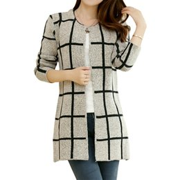 5d94a710d6 Wholesale- Spring Autumn long coat winter sweater women new Korean loose  big yards thin plaid knit cardigan female vestidos LXJ253