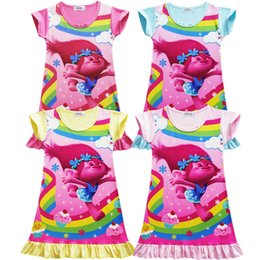 Pantalones Cortos Sueltos Baratos-Verano Girl Dress Trolls Cartoon pijamas Baby Kids Nightwear Cute manga corta camisones ropa suelta ropa de dormir