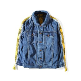 Barato Chaqueta Denim Hombre-Vmade Denim Ooversized Tape Cufflinks Confeccionados Casacos Denim Men Tide Brand Loose Jacket Chaqueta Hombre Kanye West