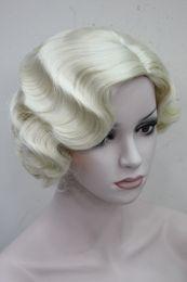 Venta al por mayor de Hivision Short Finger Wave Mujeres Señoras Natural Daily Hair Retro Classic peluca sintética 10 colores seleccionados