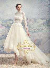 5993e82016 Vestidos de boda asimétricos altos bajos de la manga larga 2017 Vestidos de  novia de la falda de Tulle del corsé del cordón del alto cuello