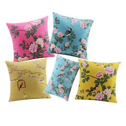 chinese pillow case covers UK - Rose Flower Birds Cushion Cover Chinese Culture Supersoft Pillow Cover 10 Styles Geometric Pillow Cases Baby Bedroom Sofa Decoration