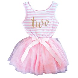 Barato Um Ano Bebê Festa Vestidos-Atacado- Cute Newborn Baby Dress One Two Designs Stripe Christmas Baptism Clothes For Baby Girl 1 ano presente de aniversário infante Party Wear