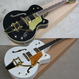 Chinese  Hot Sale Factory Custom Semi-hollow White and Black Electric Guitar with Maple Body,Rosewood Fingerboard,Gold Hardware,Can be Customized manufacturers