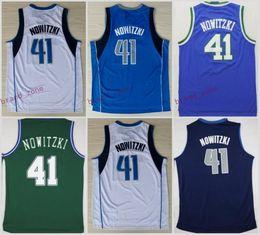 Men 41 Dirk Nowitzki Basketball Jerseys Wholesale Throwback Dirk Nowitzki  Jersey For Sport Fans Green Blue 9554eb02d99d9