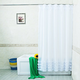 design lace curtains wholesale white lace and ruffles design shower curtain bathroom creative polyester