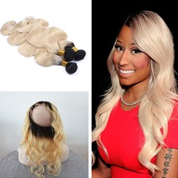 Roots Band Canada - Ombre Color #1B 613 Dark Root Body Wave Human Hair Bundles With Pre Plucked 360 Lace Band Frontal Closure With Baby Hair